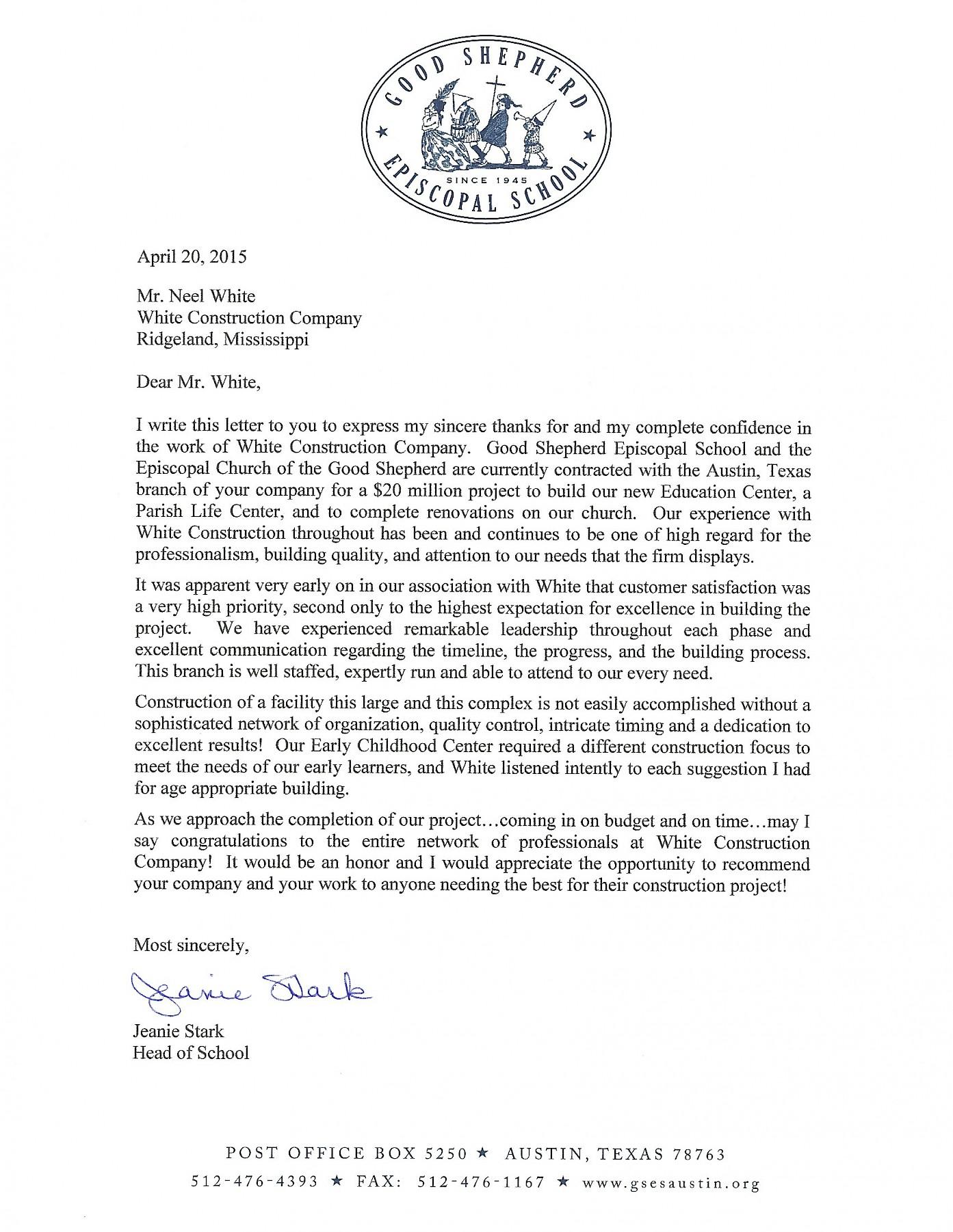 appreciation letter from good shepherd episcopal school white appreciation letter from good shepherd episcopal school
