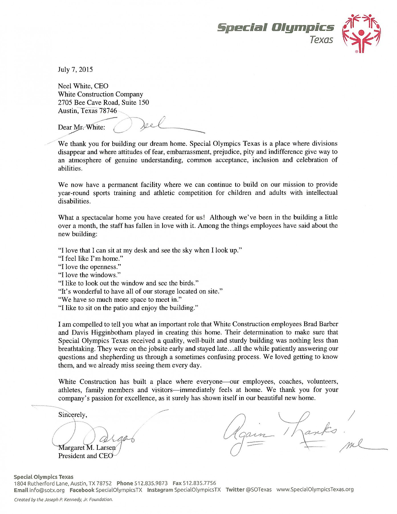 Appreciation Letter From Special Olympics Texas  Appreciation Letter