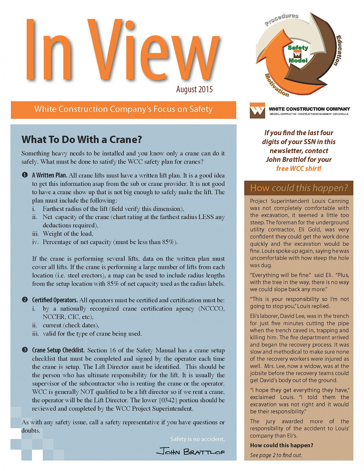 WCC Safety Newsletter, August 2015 | White Construction Company